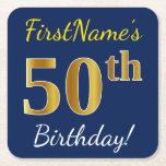 [ Thumbnail: Blue, Faux Gold 50th Birthday + Custom Name Paper Coaster ]