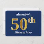 [ Thumbnail: Blue, Faux Gold 50th Birthday Party + Custom Name Invitation ]