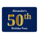 [ Thumbnail: Blue, Faux Gold 50th Birthday Party + Custom Name Invitation ]