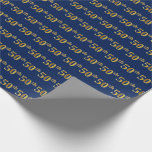 [ Thumbnail: Blue, Faux Gold 50th (Fiftieth) Event Wrapping Paper ]
