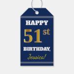 [ Thumbnail: Blue, Faux Gold 51st Birthday + Custom Name Gift Tags ]
