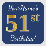 [ Thumbnail: Blue, Faux Gold 51st Birthday + Custom Name Sticker ]