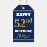 [ Thumbnail: Blue, Faux Gold 52nd Birthday + Custom Name Gift Tags ]