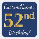 [ Thumbnail: Blue, Faux Gold 52nd Birthday + Custom Name Sticker ]