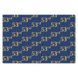 [ Thumbnail: Blue, Faux Gold 53rd (Fifty-Third) Event Tissue Paper ]