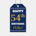 [ Thumbnail: Blue, Faux Gold 54th Birthday + Custom Name Gift Tags ]