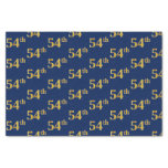 [ Thumbnail: Blue, Faux Gold 54th (Fifty-Fourth) Event Tissue Paper ]