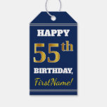 [ Thumbnail: Blue, Faux Gold 55th Birthday + Custom Name Gift Tags ]