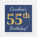 [ Thumbnail: Blue, Faux Gold 55th Birthday + Custom Name Napkin ]