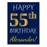 [ Thumbnail: Blue, Faux Gold 55th Birthday + Custom Name Postcard ]