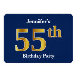 [ Thumbnail: Blue, Faux Gold 55th Birthday Party + Custom Name Invitation ]