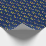 [ Thumbnail: Blue, Faux Gold 55th (Fifty-Fifth) Event Wrapping Paper ]