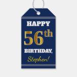 [ Thumbnail: Blue, Faux Gold 56th Birthday + Custom Name Gift Tags ]