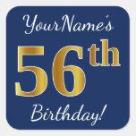 [ Thumbnail: Blue, Faux Gold 56th Birthday + Custom Name Sticker ]