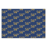 [ Thumbnail: Blue, Faux Gold 56th (Fifty-Sixth) Event Tissue Paper ]
