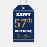 [ Thumbnail: Blue, Faux Gold 57th Birthday + Custom Name Gift Tags ]