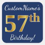 [ Thumbnail: Blue, Faux Gold 57th Birthday + Custom Name Sticker ]