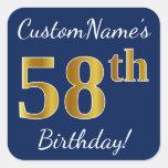 [ Thumbnail: Blue, Faux Gold 58th Birthday + Custom Name Sticker ]