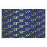[ Thumbnail: Blue, Faux Gold 58th (Fifty-Eighth) Event Tissue Paper ]