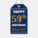 [ Thumbnail: Blue, Faux Gold 59th Birthday + Custom Name Gift Tags ]
