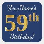 [ Thumbnail: Blue, Faux Gold 59th Birthday + Custom Name Sticker ]