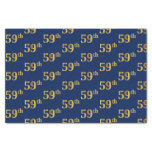 [ Thumbnail: Blue, Faux Gold 59th (Fifty-Ninth) Event Tissue Paper ]