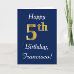[ Thumbnail: Blue, Faux Gold 5th Birthday + Custom Name Card ]