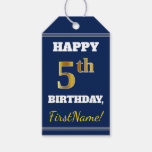[ Thumbnail: Blue, Faux Gold 5th Birthday + Custom Name Gift Tags ]
