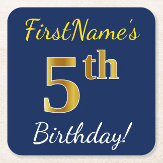 Blue, Faux Gold 5th Birthday + Custom Name Square Paper Coaster