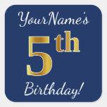[ Thumbnail: Blue, Faux Gold 5th Birthday + Custom Name Sticker ]