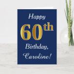 [ Thumbnail: Blue, Faux Gold 60th Birthday + Custom Name Card ]