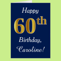 Blue, Faux Gold 60th Birthday   Custom Name Card