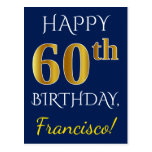 [ Thumbnail: Blue, Faux Gold 60th Birthday + Custom Name Postcard ]