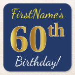 [ Thumbnail: Blue, Faux Gold 60th Birthday + Custom Name Paper Coaster ]