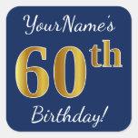 [ Thumbnail: Blue, Faux Gold 60th Birthday + Custom Name Sticker ]