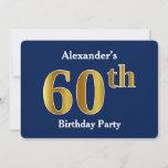 [ Thumbnail: Blue, Faux Gold 60th Birthday Party + Custom Name Invitation ]