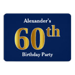 [ Thumbnail: Blue, Faux Gold 60th Birthday Party + Custom Name Invitation ]