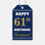 [ Thumbnail: Blue, Faux Gold 61st Birthday + Custom Name Gift Tags ]