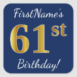 [ Thumbnail: Blue, Faux Gold 61st Birthday + Custom Name Sticker ]