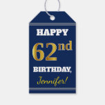 [ Thumbnail: Blue, Faux Gold 62nd Birthday + Custom Name Gift Tags ]