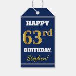 [ Thumbnail: Blue, Faux Gold 63rd Birthday + Custom Name Gift Tags ]