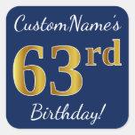 [ Thumbnail: Blue, Faux Gold 63rd Birthday + Custom Name Sticker ]