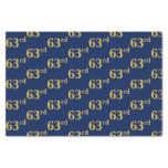 [ Thumbnail: Blue, Faux Gold 63rd (Sixty-Third) Event Tissue Paper ]