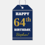 [ Thumbnail: Blue, Faux Gold 64th Birthday + Custom Name Gift Tags ]