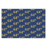 [ Thumbnail: Blue, Faux Gold 64th (Sixty-Fourth) Event Tissue Paper ]