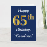 [ Thumbnail: Blue, Faux Gold 65th Birthday + Custom Name Card ]