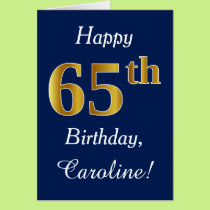 Blue, Faux Gold 65th Birthday   Custom Name Card