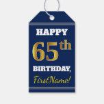 [ Thumbnail: Blue, Faux Gold 65th Birthday + Custom Name Gift Tags ]