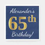 [ Thumbnail: Blue, Faux Gold 65th Birthday + Custom Name Napkin ]