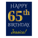 [ Thumbnail: Blue, Faux Gold 65th Birthday + Custom Name Postcard ]